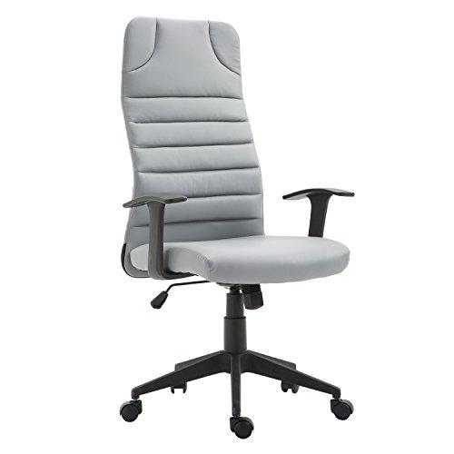HOMCOM High Back Ergonomic Desktop Computer Chair Lumbar Support Arms - Gray by HOMCOM