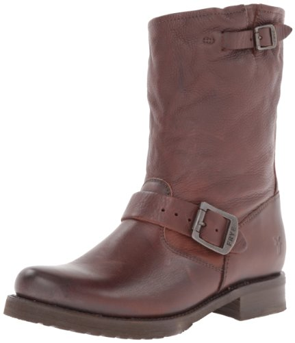 (FRYE Women's Veronica Short Boot, Dark Brown Soft Vintage Leather, 9.5 M)