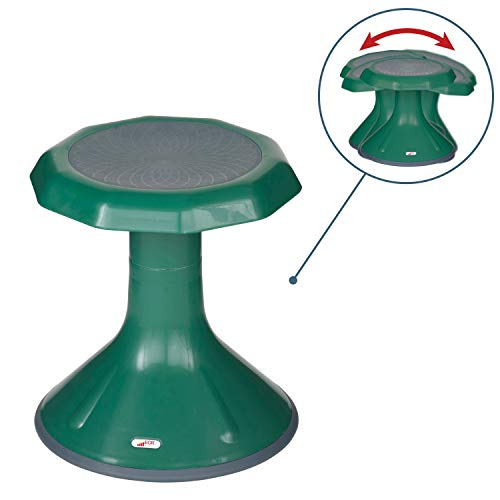 ECR4Kids ACE Active Core Engagement Wobble Stool for Kids, Flexible Classroom & Home Seating, Kids Chair, Flexible Seating, Wiggle Chairs, 360 Degree Movement, 15-inch Seat Height, Green
