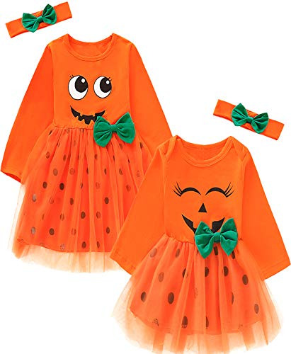 Matching Sister Halloween Costumes (Aslaylme Baby Girls Halloween Outfits Toddler Smiles Pumpkin Costume Skirt Set (Orange01(Just One Little Sister Dress),6-12)