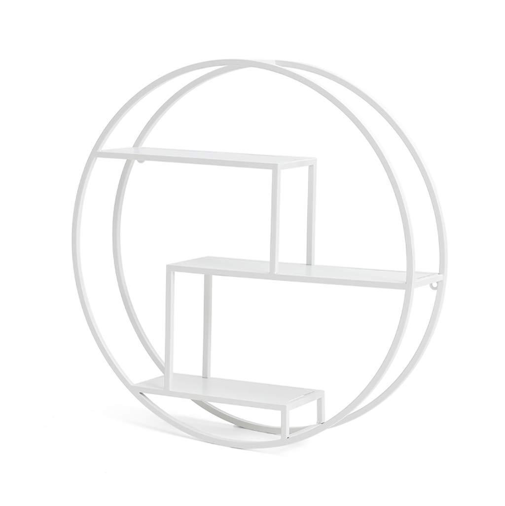 錬鉄製ラウンドウォールシェルフクリエイティブウォールハンギング本棚多層リビングルーム装飾フレーム 装飾フレーム (Color : White) B07T3RQBWQ White