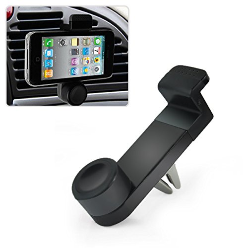 Universal Car Air Vent Mobile Phone Mount Holder Dock compatible with iPhone 6/5S/5C/4s, Samsung Galaxy Note 2/3/4 Galaxy S5, S4, S3, LG G3 G2, HTC One M7 M8, Nokia Lumia, Nexus 4/5, Blackberry and other smartphones (Black)