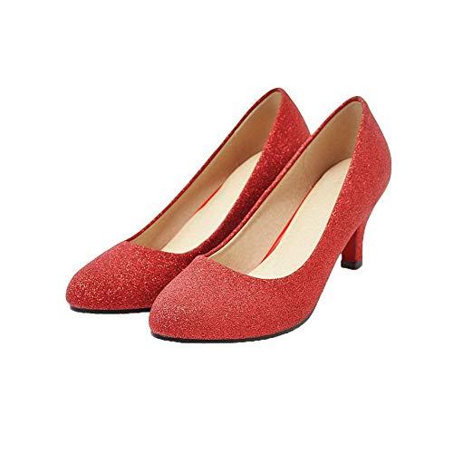 Rouge Femme GMBDB013246 Cuir à PU Correct AgooLar Rond Chaussures Couleur Légeres Talon Unie 7SPCncd