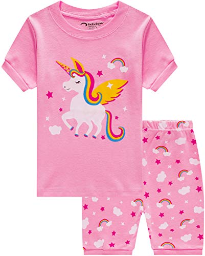 Little Girls Horse Pajamas Summer Baby Girl Clothes Children Cartoon PJs Short Set Sleepwear 3t
