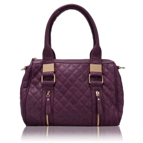 Melie Bianco Samantha Quilted Handbag (Plum), Bags Central