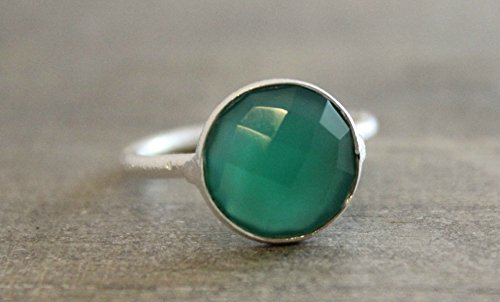 12mm Green Onyx Sterling Silver Stacking Ring, size 8 - Onyx Rose Ring