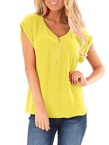 LAGSHIAN Women's Short Sleeve Shirts V Neck Summer Casual Zip Front Blouse T-Shirt Tops - Short Zip Sleeve Top