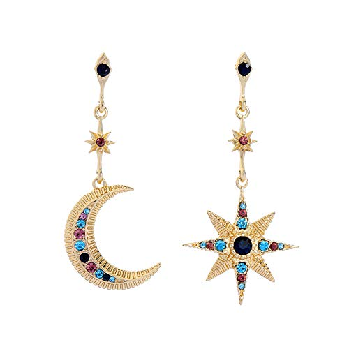 Feximzl Gold Plated Heavenly Body Asymmetrical Earrings Vintage Star Moon Design Crystal Drop Dangle Earrings for Women Statement Earrings (Design B)