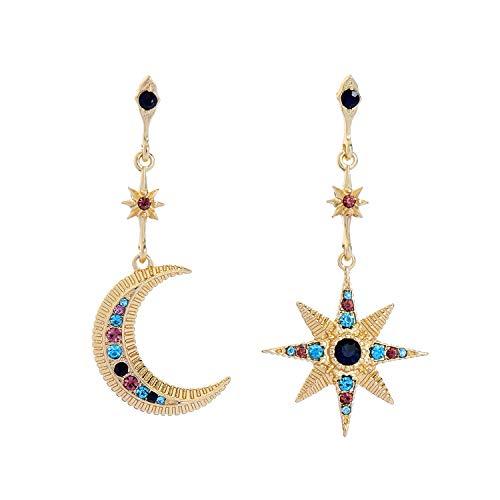 Feximzl Gold Plated Heavenly Body Asymmetrical Earrings Vintage Star Moon Design Crystal Drop Dangle Earrings for Women Statement Earrings (Design ()