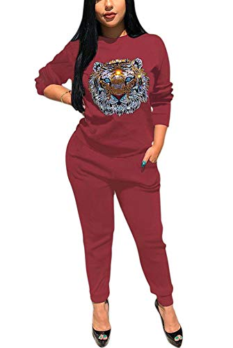 Deloreva Women Two Piece Outfits - Long Sleeve Fall Sweatsuit Jogging Suit Pant Set Activewear Jumpsuit Burgundy XXL