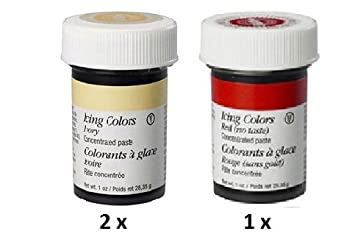 Amazon.com : Wilton 2 x Ivory + 1 x Red NO Taste Colour Icing Paste ...