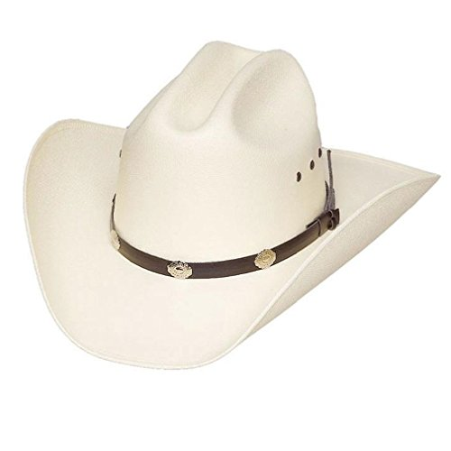 Classic Cattleman Straw Cowboy Hat with Silver Conchos and Elastic Band - White -