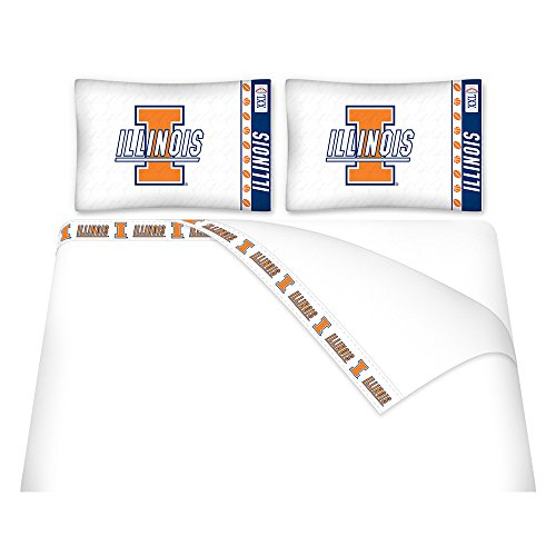 NCAA Illinois Fighting Illini Micro Fiber Sheet Set (Twin) (Fighting Blanket Illini)