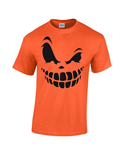 [Crazy Bro's Tees Pumpkin Face Halloween Costume Orange Jack O' Lantern Funny Men's T-shirt (Small,] (Madeline Halloween Costume Ideas)