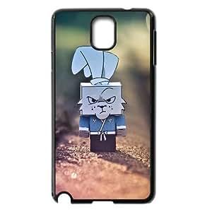 Pharrel Bunny Samsung Galaxy Note 3 Case Cute Grumpy Cardboard Rabbit, Men Design Bunny, {Black}