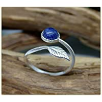 Blue Sodalite Sterling Silver Feather Ring 925 Gemstone adjustable ring