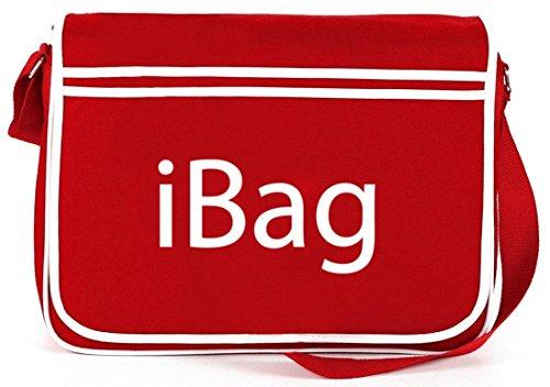 Shirtstreet24, iBag, Retro Messenger Bag Kuriertasche Umhängetasche Rot
