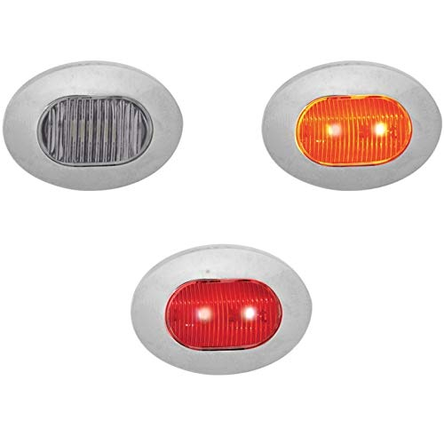 Trux Accessories 1Inch Flatline Dual Function Mini Oval Button Led Light
