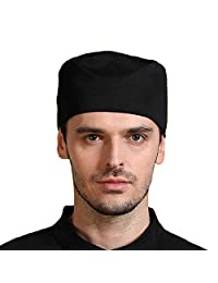 Premium Chef Hat Hats Breathable Skull Cap Chefwear for Cooking/Baking - Black