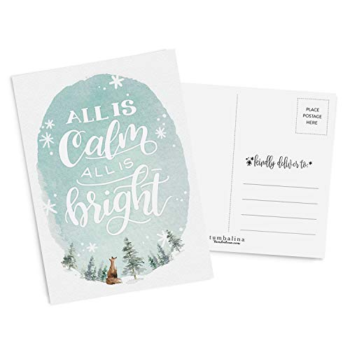50 Holiday Postcards, All Is Calm All Is Bright, Hand-Lettered Christmas Postcard Set, Hand-lettered Holiday Postcards, Happy New Year Postcards, Season's Greetings Postcards - Christmas Postcard