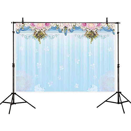 Allenjoy 7x5ft Durable Fabric Blue Curtain Pink Flora Photography Backdrop Background for Birthday Baby Shower Large Party Banner Decoration Celebration Dessert Table Photobooth ()
