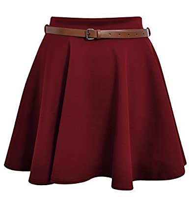 Ditzy Fashion Women's Belted Skater Flared Plain Mini Party Skirt, M/L Wine Red