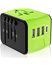 Disgian Travel Adapter, Universal International Power Adapter with 3USB Port and Type-C International Wall Charger Worldwide AC Power Plug for Multi-Nation Travel UK, EU, AU Over 200 Countries