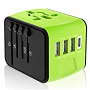 Disgian Travel Adapter, Universal International Power Adapter with 3USB Port and Type-C International Wall Charger…