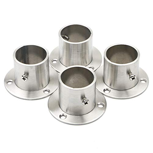 Pxyelec Stainless Steel Closet Rod Flange Holder for Outside Diameter 1.5 inch (38mm) Steel Pipe, Pack of 4