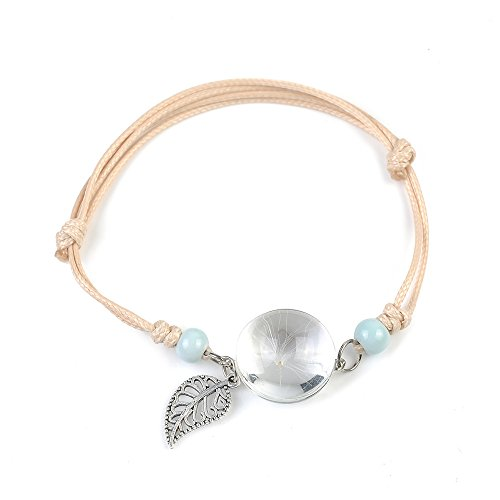 (GUOYIHUA Handmade Dry Pressed Flower Cherry Blossom Gemstone Glass Adjustable Rope Strand Bangle Bracelet Women)