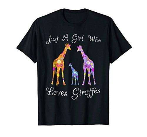 Giraffe Tshirts For Girls - Cute Floral Gift Tees