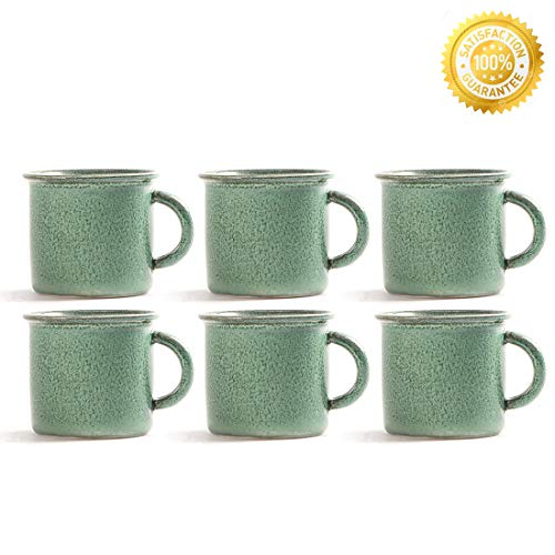 Espresso Cups,QMFIVE,Ceramic coffee cup with handle,2.7-ounces/80ml,Mug for Drinking Tea,Latte,Lungo or Cappuccino,Green fine lines (Espresso Ceramic Cups)