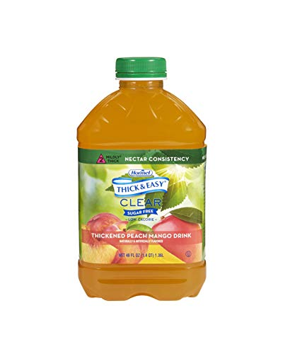 Thick & Easy Sugar Free Thickened Beverage 46 oz. Bottle Peach Mango Flavor Ready to Use Nectar Consistency, 79018 – Case of 6