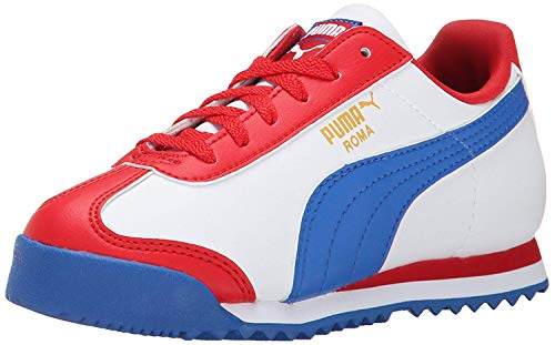 PUMA Roma Basic JR Classic Sneaker (Little Kid/Big Kid) , High Risk Red/White/Strong Blue, 7 M US Big Kid