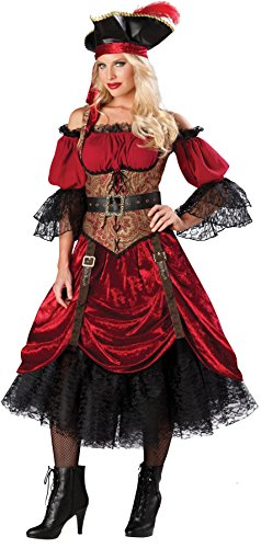 GTH Women's Buccaneer Caribbean Pirate Swashbucklin Scarlet Costume, L (12-14)