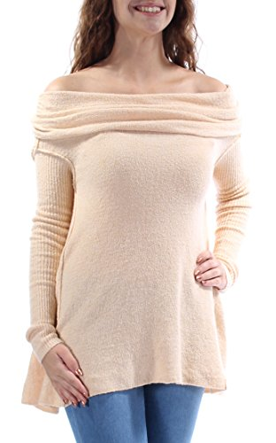 - Free People Womens Boucle Cowl Neck Pullover Sweater Beige M