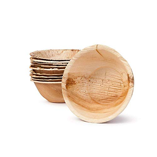Small Palm Leaf Cereal Bowls - Environmentally disposable tableware | 25 pieces | 9.28 oz | 5 Inches round | 1/4
