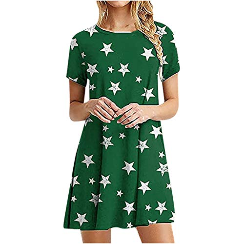 Women's Summer Dresses, Ladies Summer Light and Breathable Sexy Fashion Solid Color Loose Short Round Neck Short Sleeve Dress(Green,23_S