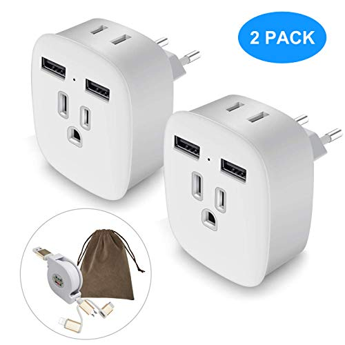 European Plug Adapter, Aolerx International Power Adapter with 2 USB Ports 2 Outlets, 4 in 1 US to Europe Travel Plug Adapter For France, Germany, Spain, Greece, Russia(2 Pack Type C)