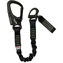 """Fusion Tactical 6ft 72""""x1"""" Internal Elastic Bungee Military Police Personal Retention Helo Lanyard with Snap Hook Shackle 23kN Black"""