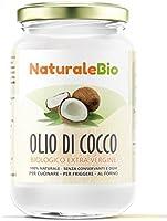 Olio di Cocco Biologico Extra Vergine 500 ml | Crudo e Spremuto a Freddo | Organico e Puro al 100% | Ideale sui Capelli, sul Corpo e ad Uso Alimentare | Olio di Cocco Bio Nativo e non Raffinato | NATURALEBIO