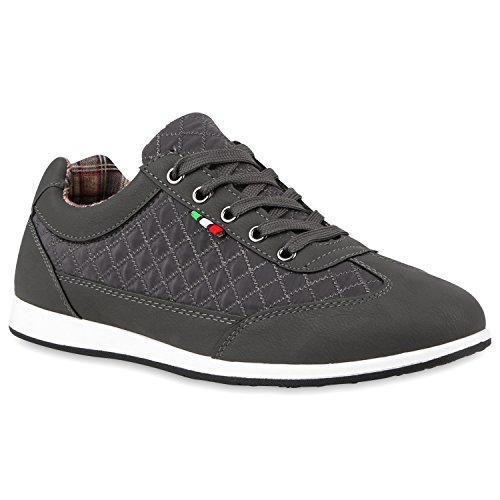 Stiefelparadies Herren Sneakers Gesteppt Denim Sportschuhe Sneaker Low Turnschuhe Schnürer Freizeit Schuhe Leder-Optik Flandell Grau