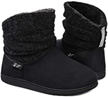 LongBay Ladies' Warm Chenille Knit Bootie Slippers Comfy Suedette Fluffy Faux Fur Memory Foam Boots House Shoes