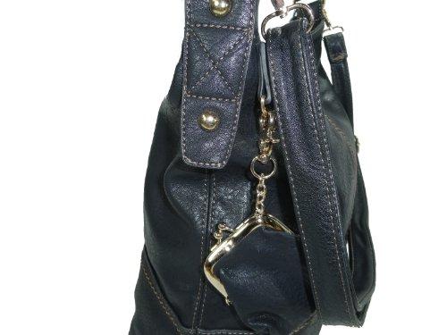 G&T Elli T20G große Tasche, Schultertasche in 7 Farben incl. kleiner Münzbörse 35x34x16 (schwarz) schwarz