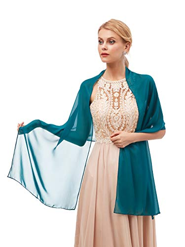 Women's Fashion Chiffon Wraps Scarve Shawls for Bridal Evening Party Teal