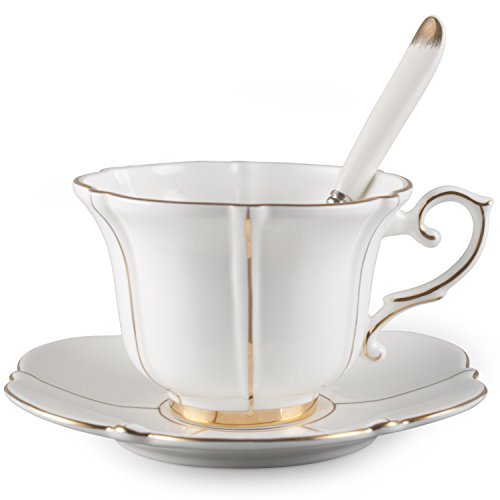 Neolith Vintage White Bone China Tea Coffee Cup Spoon and Saucer Set