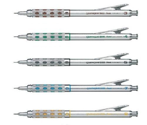 (Pentel Graphgear 1000 Automatic Drafting Pencil, 0.3 mm, 0.4 mm, 0.5 mm, 0.7 mm, 0.9 mm 5pics Set)