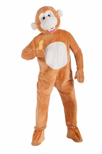 [Forum Novelties Plush Monkey Mascot Costume, Brown, Standard] (Costumes Curious George)