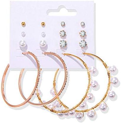 NNNDNDN Joyería de Moda Bohemia para Mujer 2020 Pendientes de Perlas con borlas para Mujer Pendientes de aro geométricos |Pendientes Colgantes