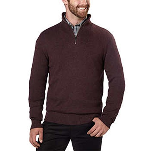 Calvin Klein Mens ¼ Zip Pullover Sweater (Pinot Grindle, X-Large) ()